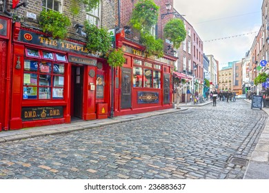 Dublin, Ireland - Oct 18, 2014: People around The Temple Bar in Dublin, Ireland on October 18, 2014