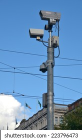 DUBLIN, IRELAND - OCTOBER 10: Pole-mounted Garda CCTV cameras monitor O'Connell Street, Dublin city's largest thoroughfare, on October 10, 2014 in Dublin, Ireland.