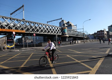 DUBLIN, IRELAND - OCTOBER 17, 2018: Dublin, capital of the Republic of Ireland, is on Ireland's east coast at the mouth of the River Liffey, in Dublin, Ireland.