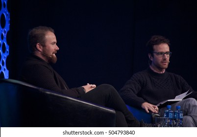 DUBLIN, IRELAND - OCTOBER 2016: Pro Irish golfer Shane Lowry chats to Joe Molloy at the One Zero Conference in the RDS, Dublin.