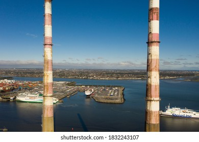 Dublin / Ireland - October 2020 : Aerial view of Poolbeg Generating Station colloquially known as The Poolbeg Stacks a power station owned and operated by ESB. Characteristic Dublin landmark.