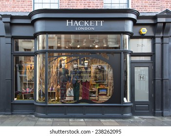 DUBLIN, IRELAND  OCTOBER 25, 2014: A Hackett clothing outlet. Hackett opened its first shop in London in 1983 is now represented in 15 European countries, Japan, Hong Kong and Dubai.
