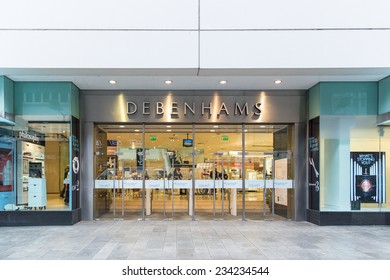 DUBLIN, IRELAND OCTOBER 3, 2014: A branch of DEBENHAMS. Debenhams plc 2013 full year results show profit down 2.7 per cent at GBH154 million and EPS up 4.1 per cent to 10.2p.