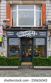 DUBLIN, IRELAND OCTOBER 3, 2014: The Beshoff fish and chips shop. Founded in 1913 by Russian Ivan Beshoff in 1913 who lived to 104 years. It serves up to 20 varieties of fresh fish.
