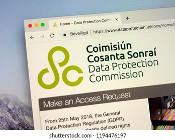 Dublin, Ireland - October 3, 2018: Website of The Data Protection Commission (DPC) is Ireland's independent supervisory supervisory authority for data protection.