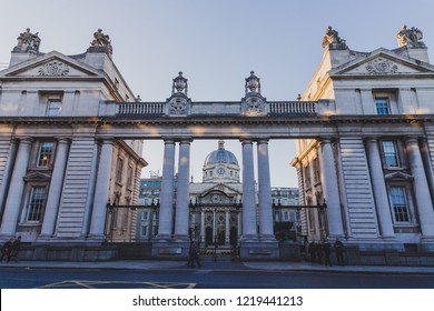 DUBLIN, IRELAND - October 6th, 2018: Ireland's government building the Department of the Taoiseach in Dublin city centre