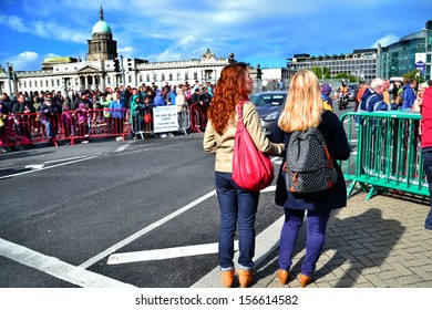 DUBLIN, IRELAND - SEPT 15: Unidentified spectators along Matt Talbot Bridge at the Dublin Air Festival in Dublin city centre on September 15, 2013 in Dublin, Ireland. 130,000 people attended.