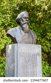 Dublin, Ireland - September 09. 2018: The bronze bust of Rabindranath Tagore in St. Stephen's Green park in Dublin, Ireland. Rabindranath Tagore was an Indian writer and poet.