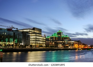 Dublin, Ireland - September 09. 2018: City Center with business quarter at the late sunset time on the river Liffey
