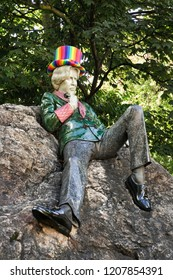 DUBLIN. IRELAND - September 11 ,2018 : Merrion Square, The Oscar Wilde statue wearing a colorful rainbow hat in Merrion Square park