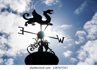 DUBLIN. IRELAND - September 12 ,2018 : weather vane in the shape of a dragon on an arbor in Phoenix Park