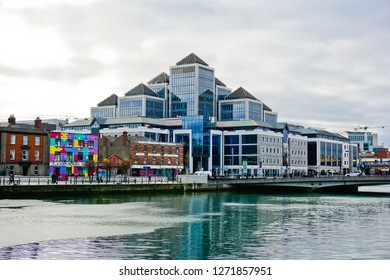 Dublin, Leinster/Ireland - 11/13/2018: beautiful cityscape near George's quay plaza on south quay road at the bank of Liffey river