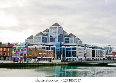 Dublin, Leinster/Ireland - 11/13/2018: panoramic view of beautiful cityscape near George's quay plaza on south quay road at the bank of Liffey river