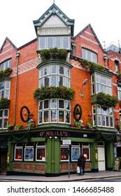 Dublin, Leinster/Ireland - 11/9/2018: beautiful building of historic Irish pub at the corner of Suffolk street