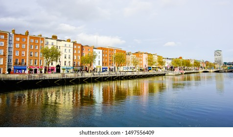 Dublin, Leinster/Ireland-11/14/2018: panoramic view of historical Georgian buildingS at lower ormond quay