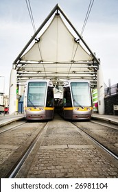 Dublin Luas, public transport light rail trains at Connolly Station.