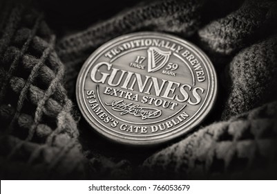 Dublin Nov 23 2017:  Famous black Irish bottle top originated in the brewery of Arthur Guinness at St. James's Gate brewery Dublin Ireland.