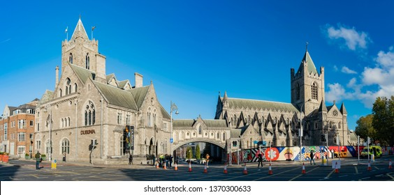 Dublin, OCT 28: Exterior view of the Christ Church Cathedral and Dublinia during the marathon event on OCT 28, 2018 at Dublin, Ireland