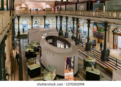 Dublin, OCT 28: Interior view of the National Museum of Ireland - Archaeology on OCT 28, 2018 at Dublin, Ireland