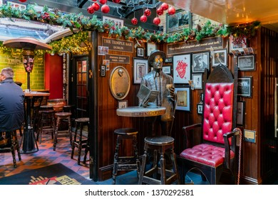 Dublin, OCT 28: Interior view of the famous Temple Bar on OCT 28, 2018 at Dublin, Ireland
