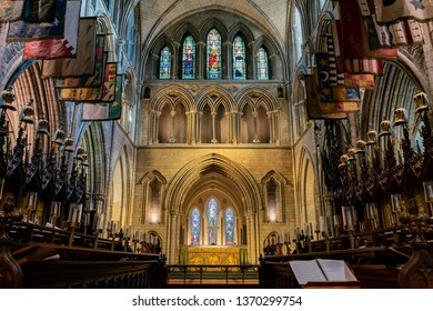 Dublin, OCT 28: Interior view of the famous St Patrick's Cathedral on OCT 28, 2018 at Dublin, Ireland