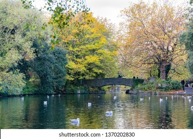 Dublin, OCT 28: Morning natural scene with bridge, lake, trees at St Stephen's Green on OCT 28, 2018 at Dublin, Ireland