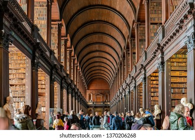 Dublin, OCT 31: The famous interior view of the Book of Kells of Trinity College on OCT 31, 2018 at Dublin, Ireland