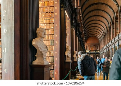 Dublin, OCT 31: Statue inside the Book of Kells of Trinity College on OCT 31, 2018 at Dublin, Ireland