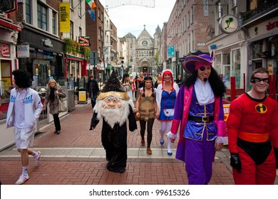 DUBLIN - OCTOBER 28: A group of partygoers dressed up on their way to a Fancy Dress Party to kick off Halloween on October 28, 2011 in Dublin