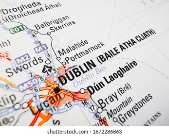 Dublin on a road map of Europe