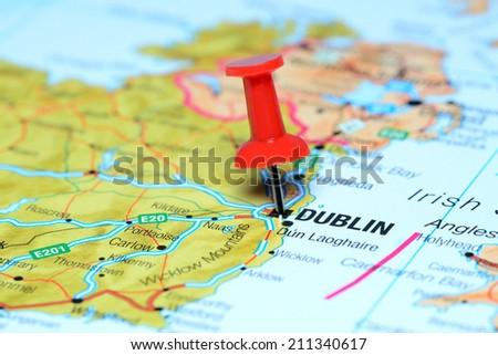Dublin Pinned On Map Europe Stockfoto (Jetzt bearbeiten) 211340617 ...