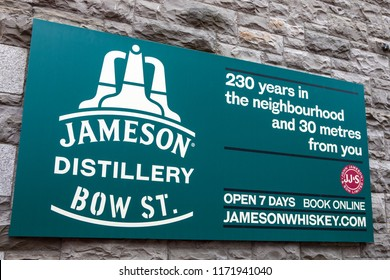 Dublin, Republic of Ireland - August 13th 2018: A ign above the entrance to the Jameson Distillery on Bow Street in the city of Dublin, Republic of Ireland.
