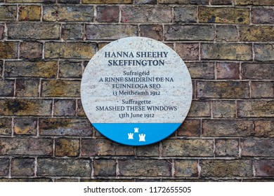 Dublin, Republic of Ireland - August 13th 2018: A plaque on Ship Street Great in the city of Dublin, marking the location where suffragette Hanna Sheehy Skeffington smashed windows in 1912.