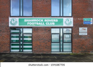 DUBLIN, REPUBLIC OF IRELAND - NOVEMBER 29, 2019: Shamrock Rovers sign at Tallaght Stadium in Dublin, Republic of Ireland