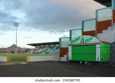 DUBLIN, REPUBLIC OF IRELAND - NOVEMBER 29, 2019: View from inside Tallaght Stadium in Dublin, Republic of Ireland