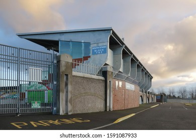 DUBLIN, REPUBLIC OF IRELAND - NOVEMBER 29, 2019: Exterior view of Tallaght Stadium in Dublin, Republic of Ireland