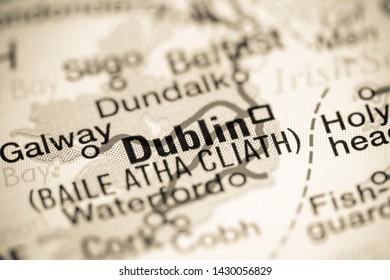 Dublin. Republic of Ireland on a map