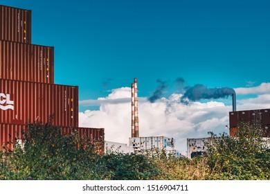 Dublin, Ringsend / Ireland - September 2019 : Poolbeg Generating Station (Irish: Cumhachtstáisiún an Phoill Bhig) old chimneys. The tallest structure in Ireland.