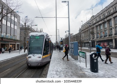 Dublin in the snow as the 'beast from the east' arrives to Ireland. 2018