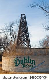 Dublin, Texas / USA - December 26 2005: Welcome to Dublin Texas Sign with Oil Derrick