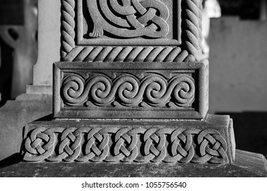 DUBLIN.IRELAND - February 25 , 2018: Celtic ornament on the grave cross in the Glasnevin cemetery.