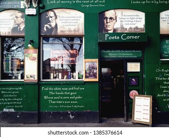 Dublin/Ireland January 1,2018 :The Poet's Corner at the Bachelor Inn genuine Irish pub celebrates Dublin's rich literary and cultural heritage,located on Bachelors way