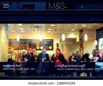 Dublin/Ireland - January 4,2019 - Local people in Dublin spending their evening time in beautiful M&S cafe on Grafton Street, Dublin city center