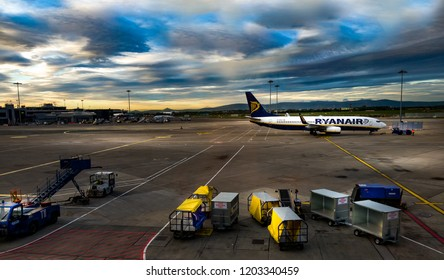 Dublin/Ireland - Sep 25, 2018 - Dublin Airport during the strike of the RYANAIR cabin crew in September 2018