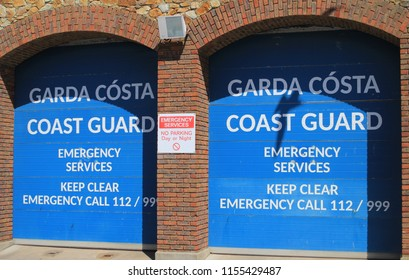 Dublin,Ireland,09/08/2018.The entrance to the Irish Coast Guard Depot in Howth, Co. Dublin, Ireland. The notice includes emergency telephone numbers and warnings to keep  the entrance clear.