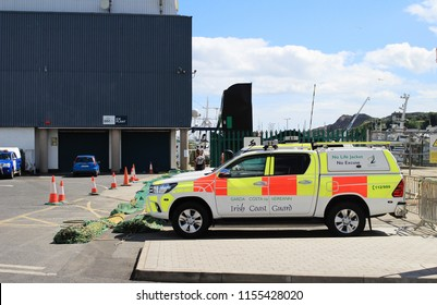 Dublin,Ireland,09/08/2018.A vehicle of the Irish Coast Guard parked in Howth Dublin Ireland, with the warning notice 'no life jacket,no excuse'.
