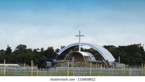 Dublin,Ireland,14/08/2018. The main altar under construction in the Phoenix Park, where Pope Francis celebrated mass on August 26th 2018.Although 500,000 were expected less than 200,000 attended.