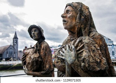 DUBLIN.IRELAND-April 22, 2018 : The Famine statues, in Custom House Quay in the Dublin Docklands
