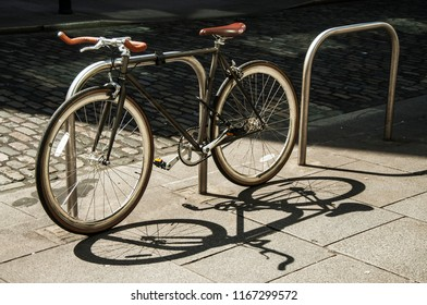 DUBLIN.IRELAND-August 07, 2017 : the bike is parked on the street