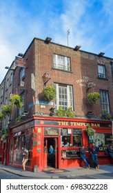 Dublin,Ireland,January 21, 2014-The Temple Bar, Irish famous pub in central Dublin. Temple Bar is promoted as Dublin's cultural quarter and is visited by hundred of tourists every day.